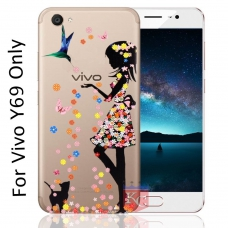 Printed Girl Holding Apple Diamond Soft Transparent Back Cover for Vivo Y69